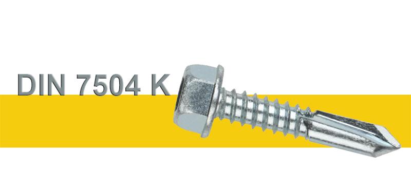 Αυτοδιάτρητες Ατσαλένιες Λαμαρινόβιδες Γαλβανιζέ Εξάγωνες Με Μακρύ Τρυπάνι DIN 7504K