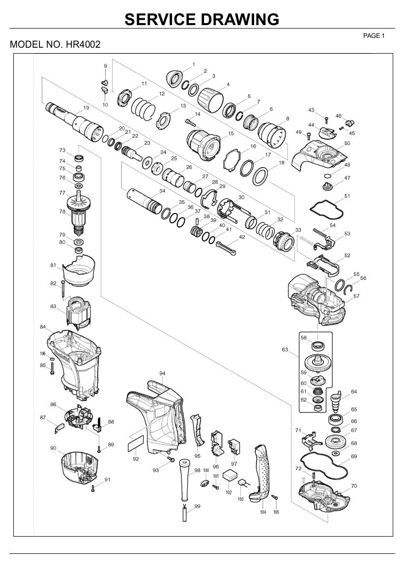 Ανταλλακτικά σκαπτικού SDS MAX HR4002 MAKITA