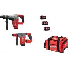Σετ Milwaukee M18 CHMCHPX-903B 18V Περιστροφικό σκαπτικό SDS MAX M18 CHM-0 Περιστροφικό σκαπτικό SDS PLUS M18 CHPC-0X με 3 μπαταρίες λιθίου σε τσάντα μεταφοράς
