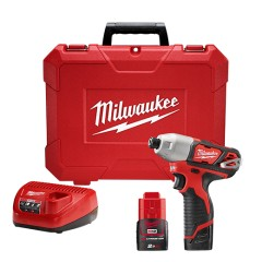 "Milwaukee M12 BID-202C παλμικό κατσαβίδι 1/4"" με 2 μπαταρίες 2.0Ah"