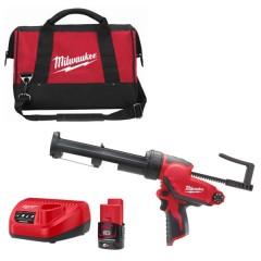 Milwaukee M12 PCG/310C-201B πιστόλι σιλικόνης για φύσιγγα ως 310ml με 1 μπαταρία 2.0Ah