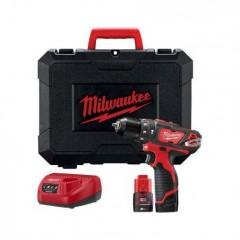 Milwaukee M12 BPD-202C Συμπαγές Κρουστικό Δραπανοκατσάβιδο με 2 μπαταρίες 2.0Ah