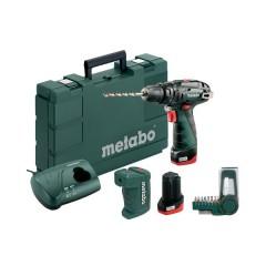 Metabo PowerMaxx SB Basic Set Kρουστικό Δραπανοκατσάβιδο Μπαταρίας 2 Ταχυτήτων με τροφοδοτικό 10,8V (2x2.0Ah) [6.00385.91]