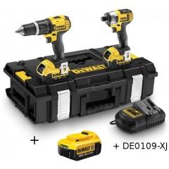 """Σετ εργαλείων Dewalt DCK285M3 ( DCF885M2 1/4"""" και  DCD785M2 ) με 3 μπαταρίες 4.0Αh σε DS150 ZAG Kit Box με δώρο 109 εξαρτήματα DEWALT DE0109-XJ"""