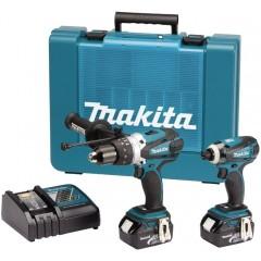 Σετ MAKITA 18V κρουστικό δράπανο 2 ταχυτήτων DHP458 και DTD146 μπουλονόκλειδο 18V με δύο μπαταρίες λιθίου 3,0 Ah με βαλίτσα MAKITA