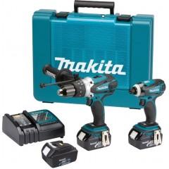Σετ MAKITA 18V κρουστικό δράπανο 2 ταχυτήτων DHP458 και DTD146 μπουλονόκλειδο 18V με τρεις μπαταρίες λιθίου 4,0 Ah με βαλίτσα MAKITA