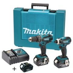 Σετ MAKITA DLX2012X1 18V κρουστικό δράπανο 2 ταχυτήτων DHP456 και DTD146 μπουλονόκλειδο 18V με τρεις μπαταρίες λιθίου 3,0 Ah με βαλίτσα ΜΑΚΙΤΑ