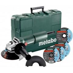 Metabo W750-125 Set 603605680 Γωνιακός τροχός ενος χεριού Φ125 σε πλαστική βαλίτσα 750Watt