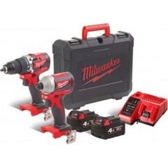 Milwaukee 4933464536  M18 CBLPP2A-402C  Brushless powerpack σετ 18V M18 CBLPD Brushless Κρουστικό Δραπανοκατσάβιδο 2 Ταχυτήτων 60 NM και M18 CBLID Brushless Παλμικό Κατσαβίδι 1/4″ 180 NM