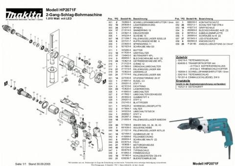 Ανάλυση εργαλείου MAKITA HP2071F
