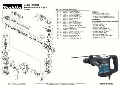 Ανάλυση εργαλείου MAKITA HR3200C