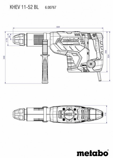 Metabo KHEV 11-52 BL SDS-MAX ηλεκτρικό σκαπτικό περιστροφικό πιστολέτο [6.00767.50]