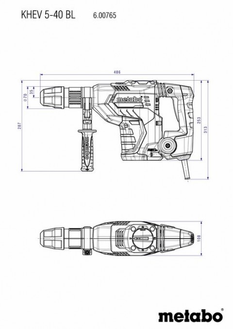 Metabo KHEV 5-40 BL SDS-MAX ηλεκτρικό σκαπτικό περιστροφικό πιστολέτο [6.00765.50]